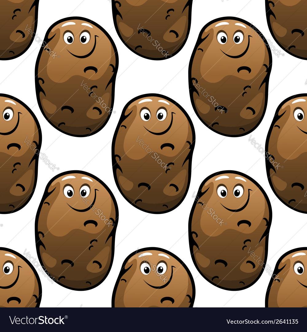 Seamless pattern of cartoon potatoes