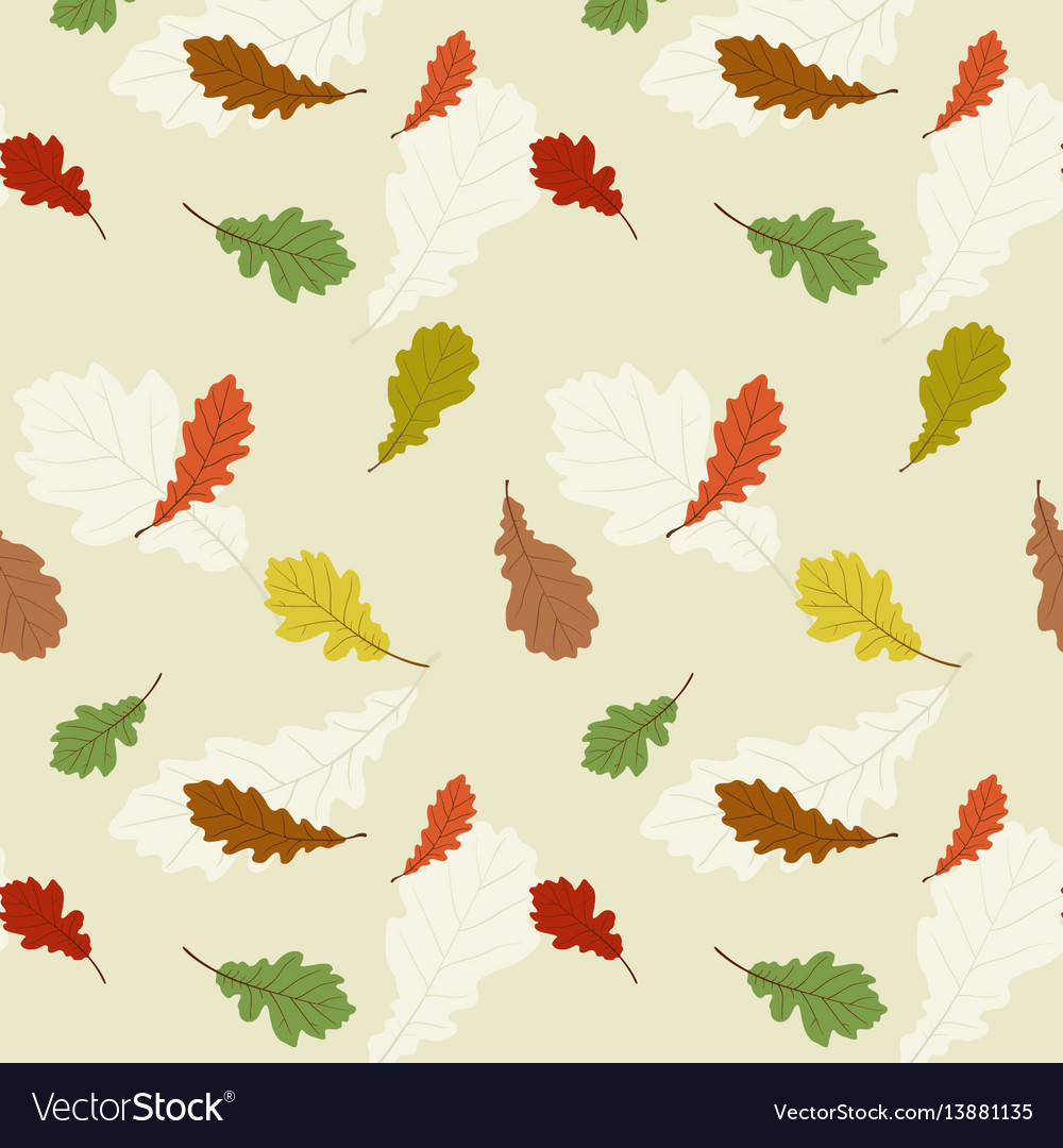 Seamless pattern with the oak leaves