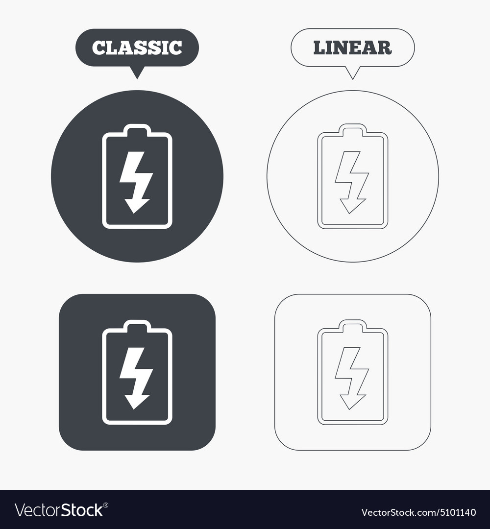 Battery charging sign icon Lightning symbol Vector Image