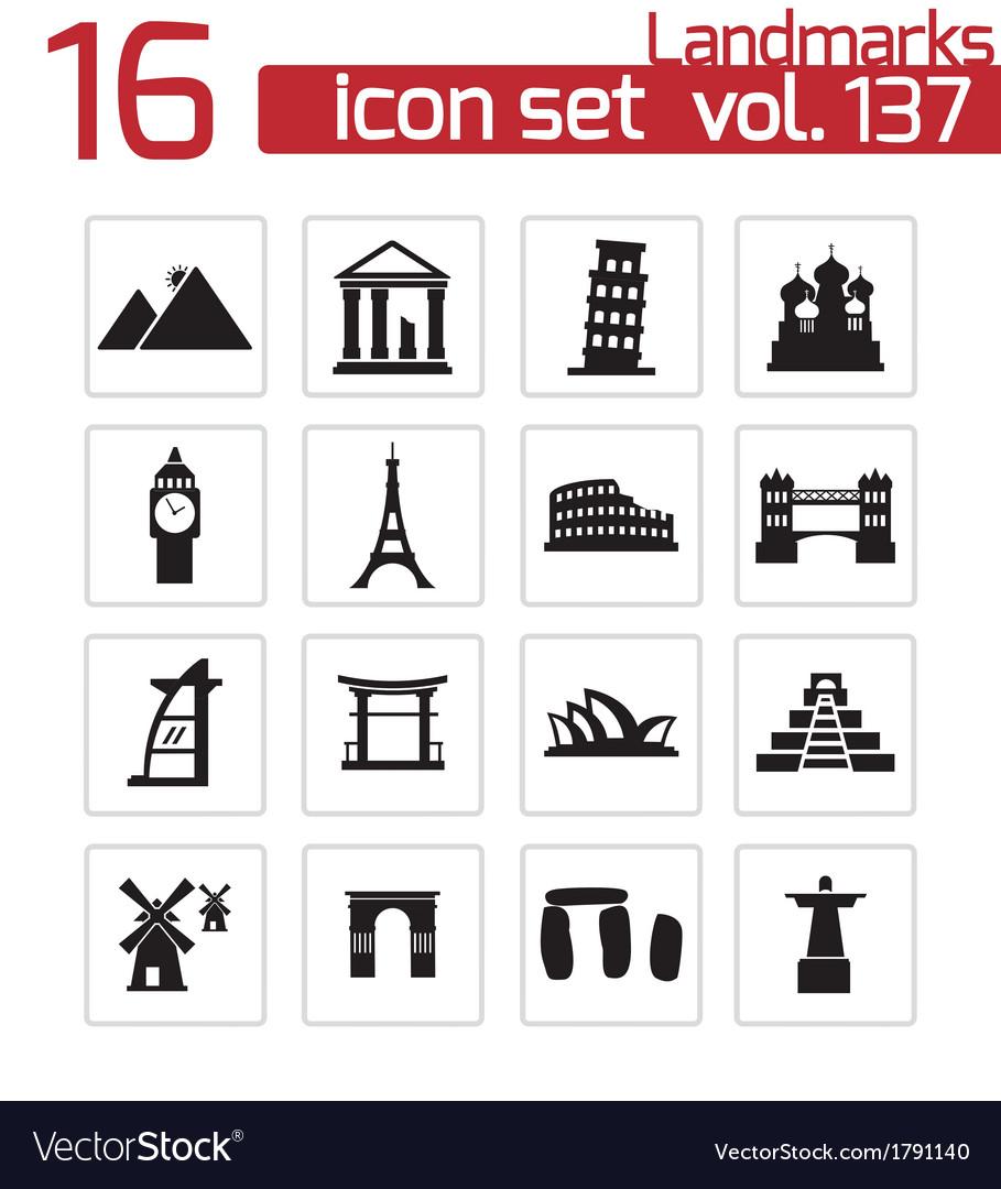 Black landmark icons set