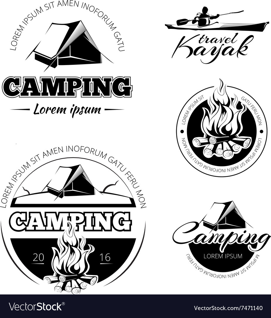 Camping and hiking labels emblems badges