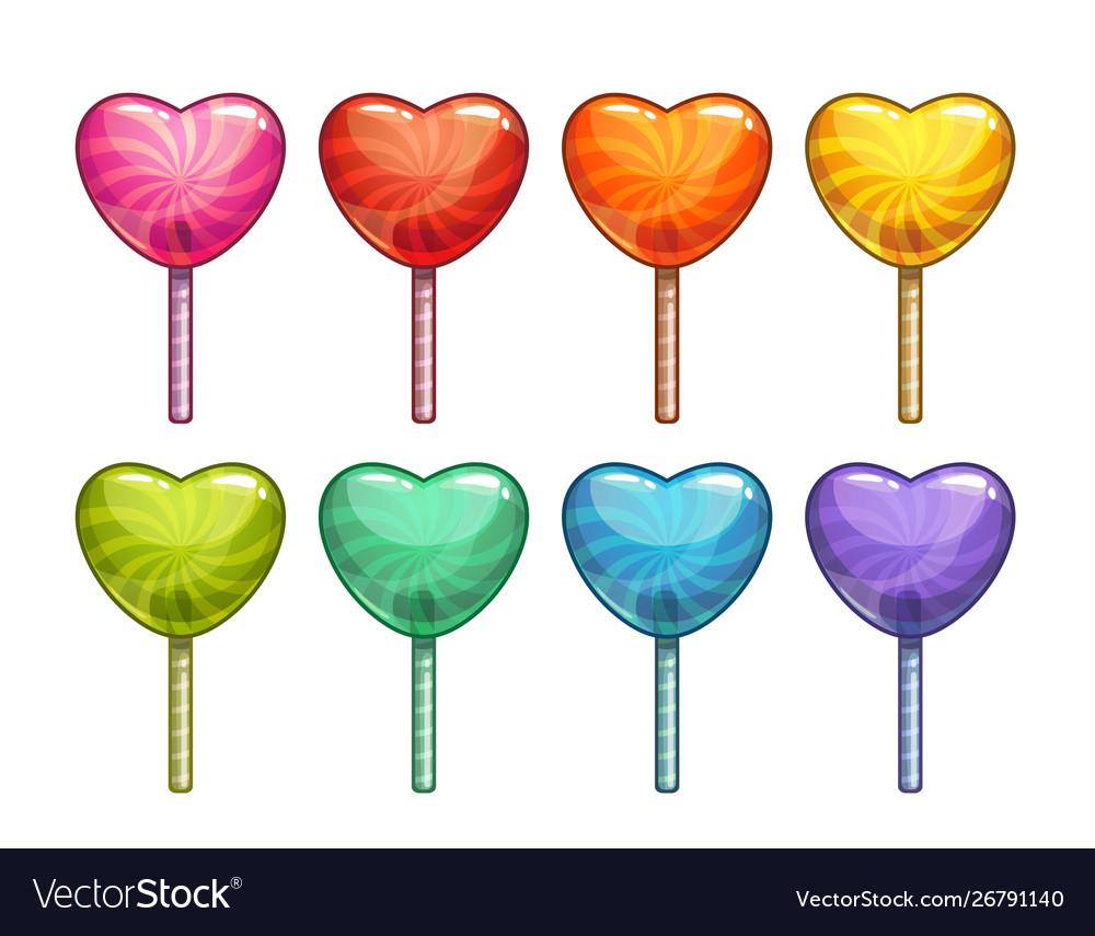 Cartoon colorful heart shaped lollipops set candy