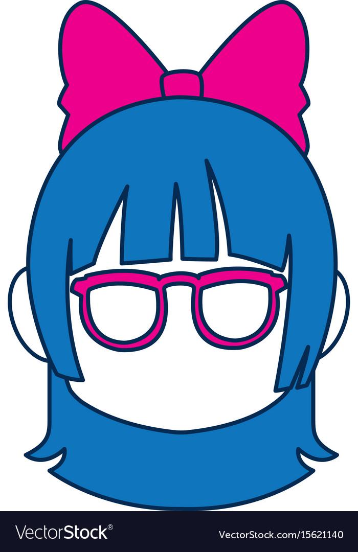 Chibi anime girl face blue hair glasses