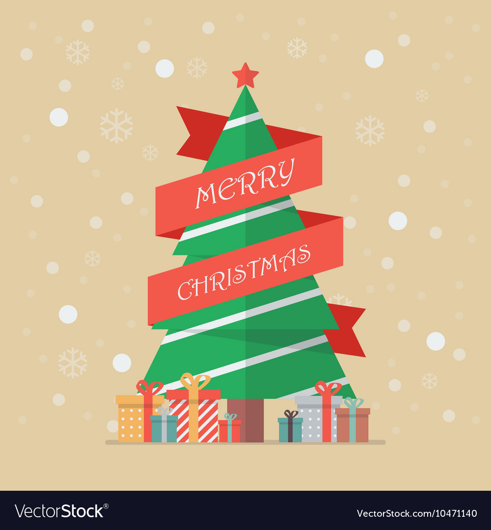 Christmas tree with red ribbon vector image