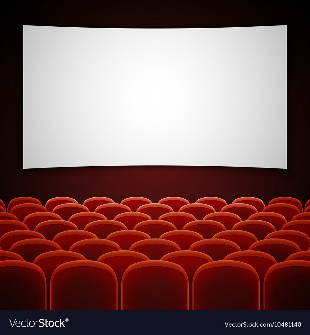 Cinema movie hall with white blank screen