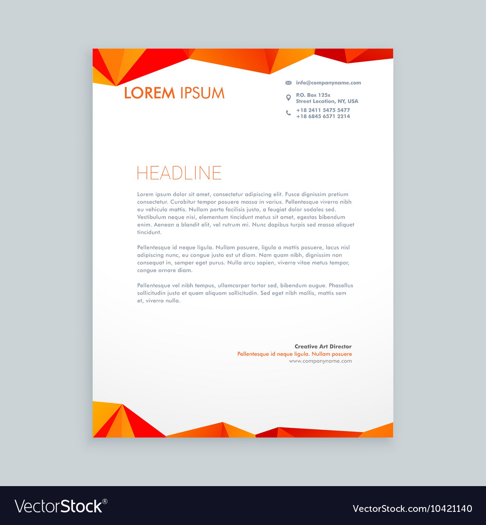 creative modern poly letterhead design royalty free vector