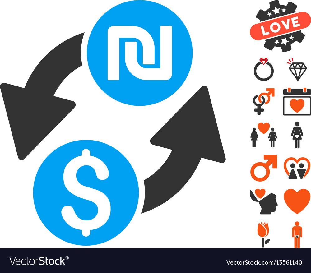 Dollar shekel exchange icon with lovely bonus vector image