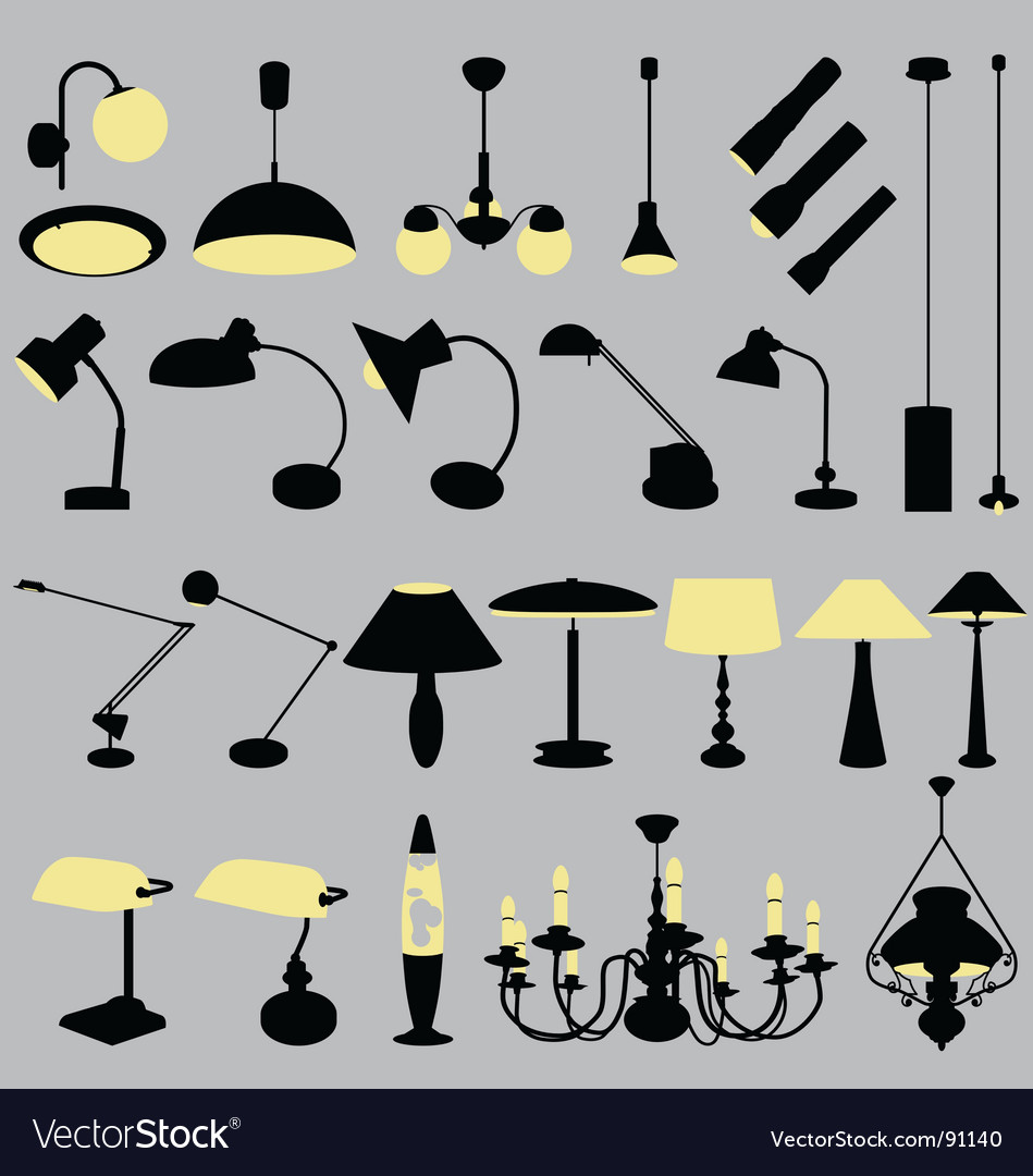 Lamps collection vector image