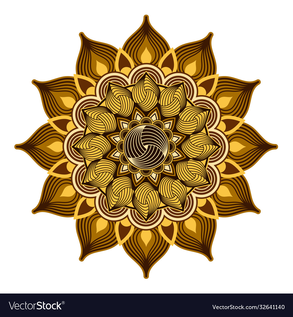 Ornamental mandalagolden and brown color design