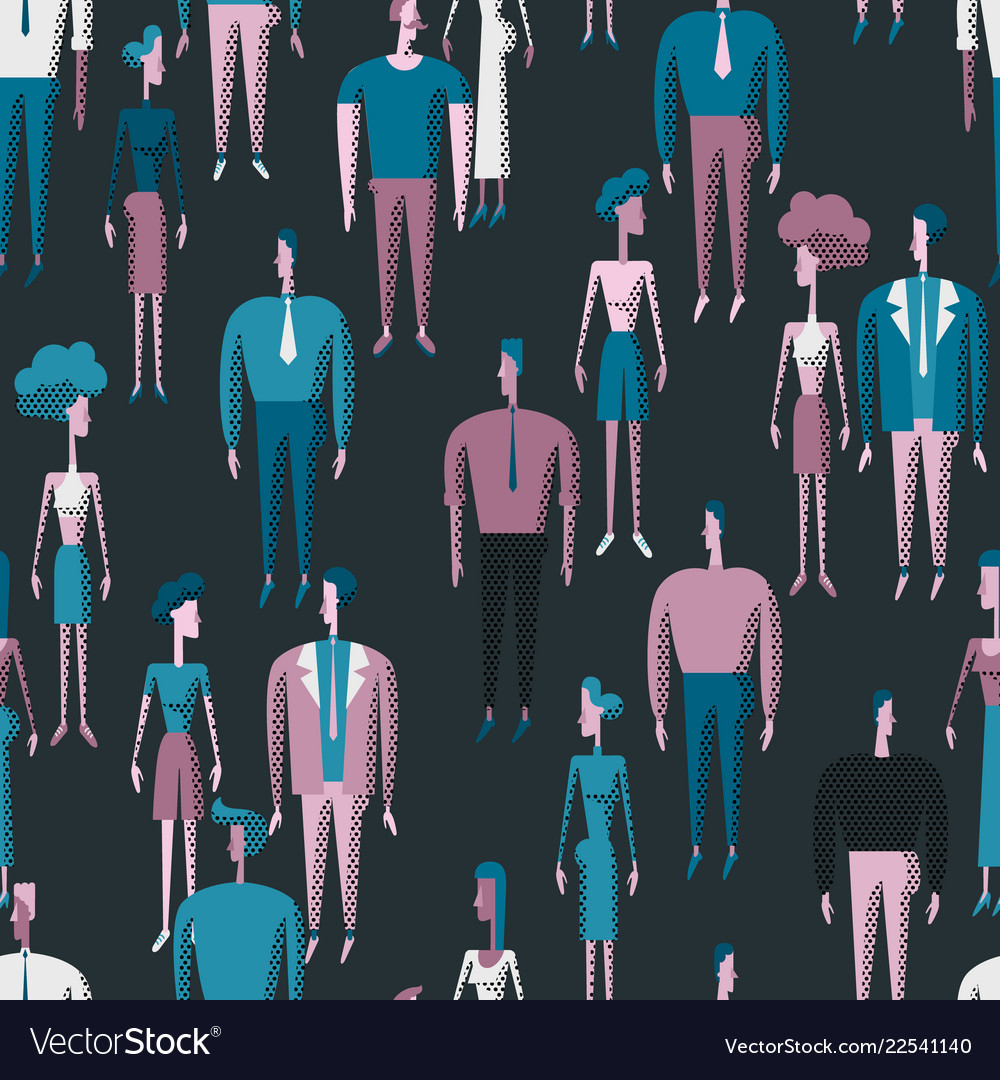 People crowd seamless pattern with men and women