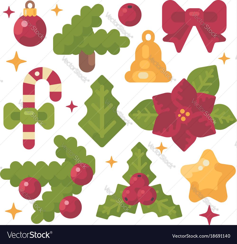 Set of christmas items flat holiday decoration