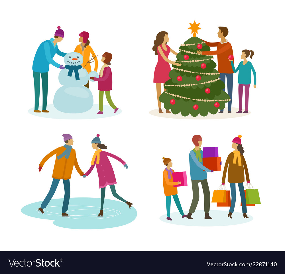 Set of people winter activity christmas concept