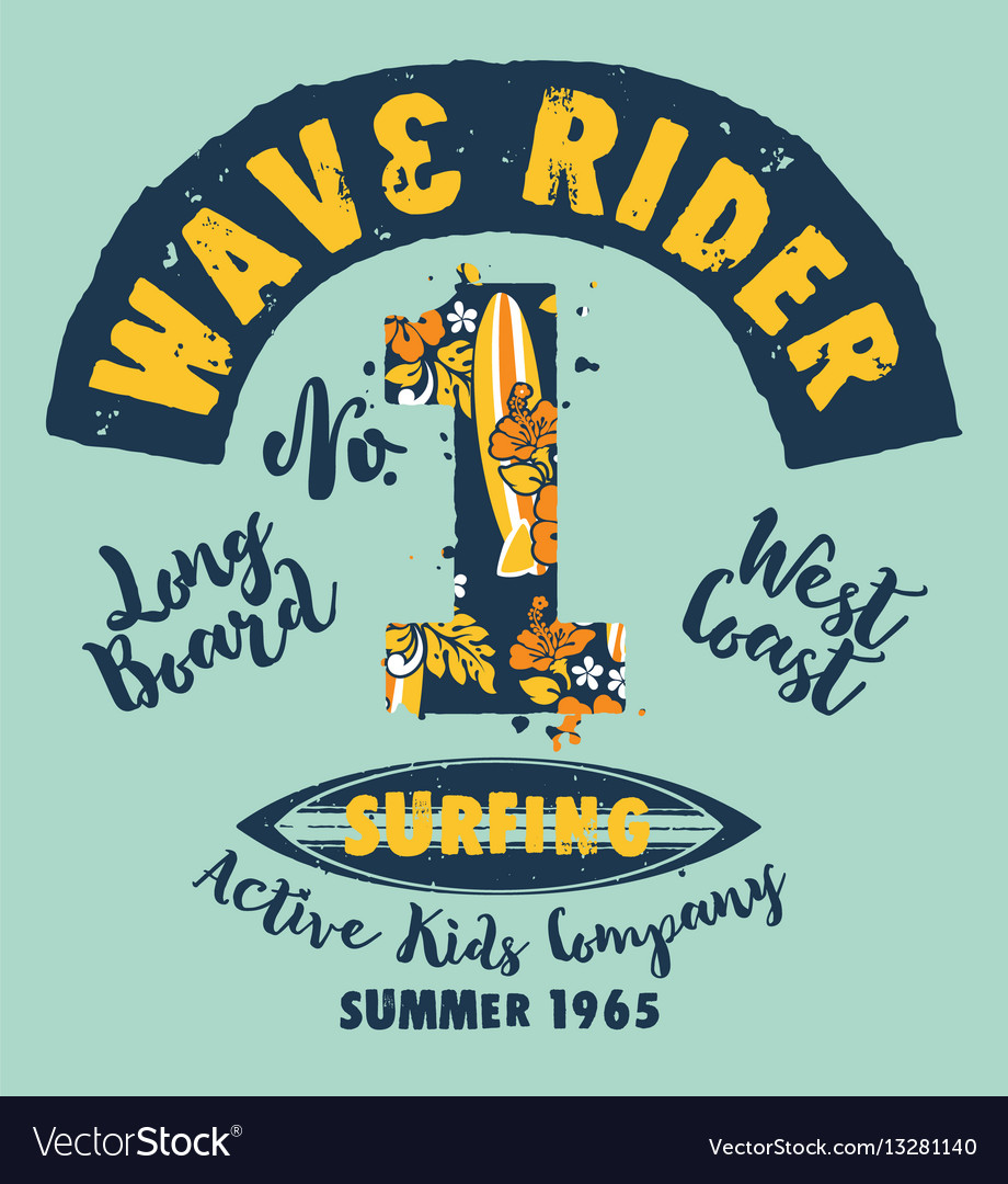 Surfer kids company vector image