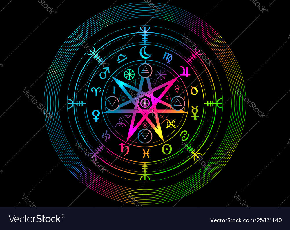 Wiccan symbol protection mandala witches runes