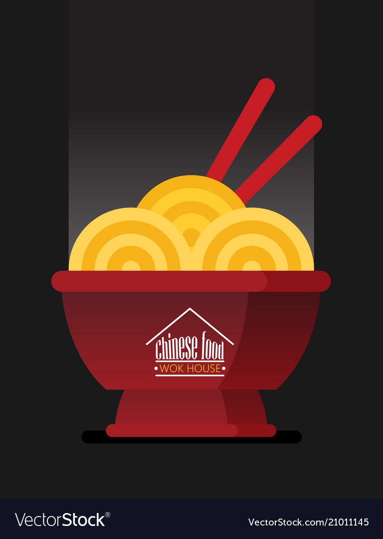 Asian wok box chineese restaurant logo brand sign
