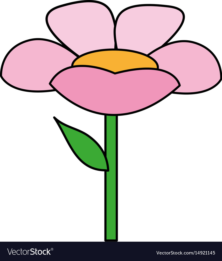 Color Image Cartoon Flower With Stem And Leaf Vector Image