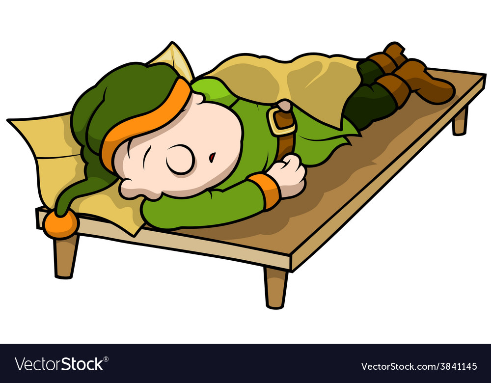 green elf sleeping royalty free vector image vectorstock