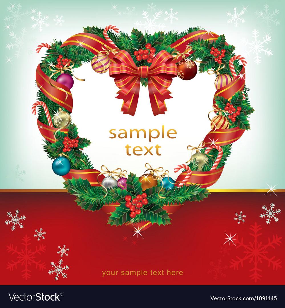 Heart shaped wreath christmas decoration card vector image