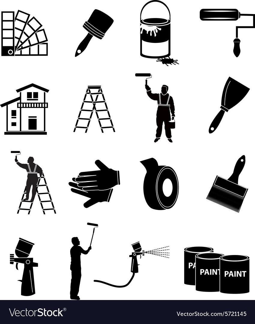 House painter icons set