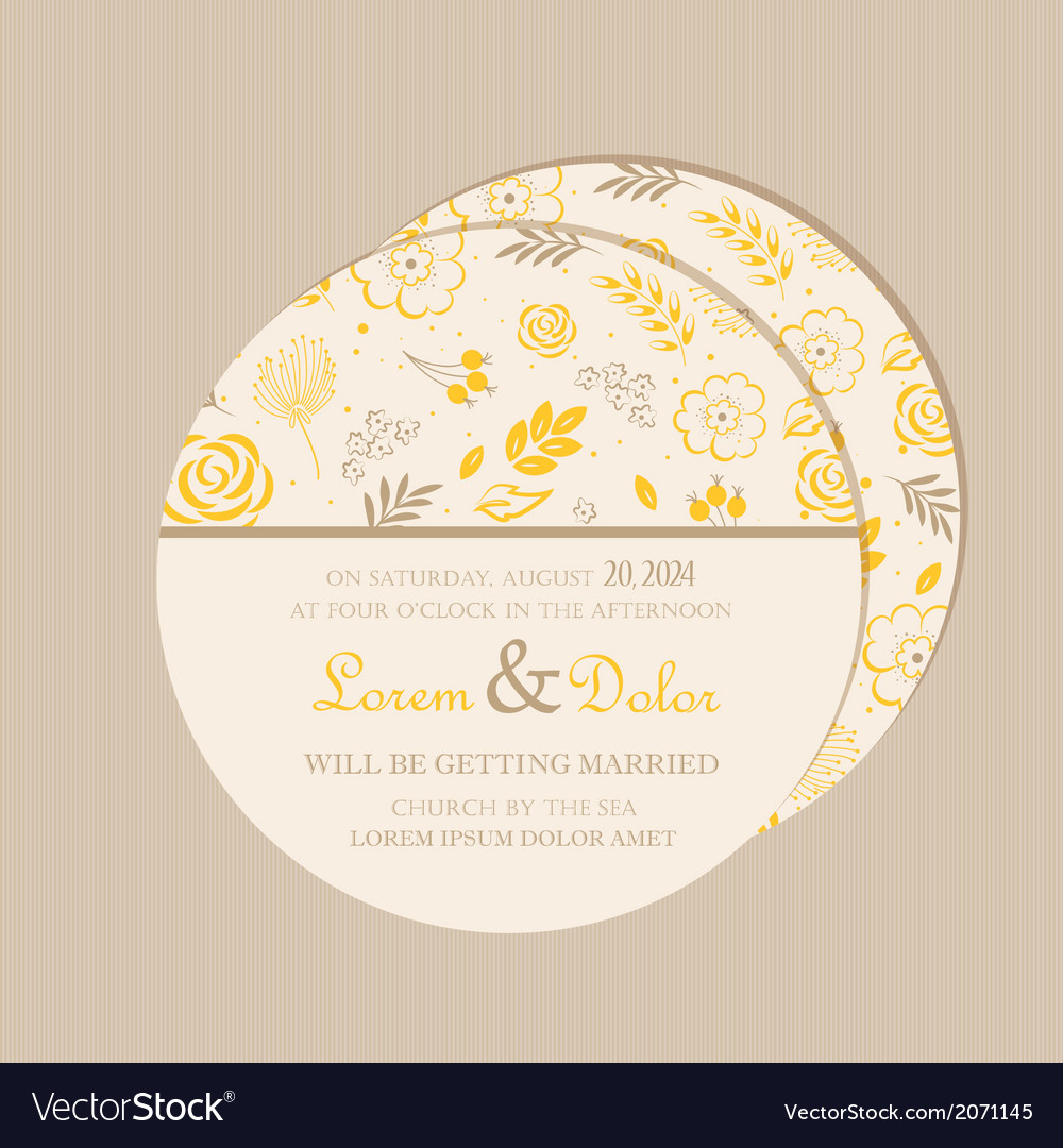 Round wedding invitation card yellow Royalty Free Vector