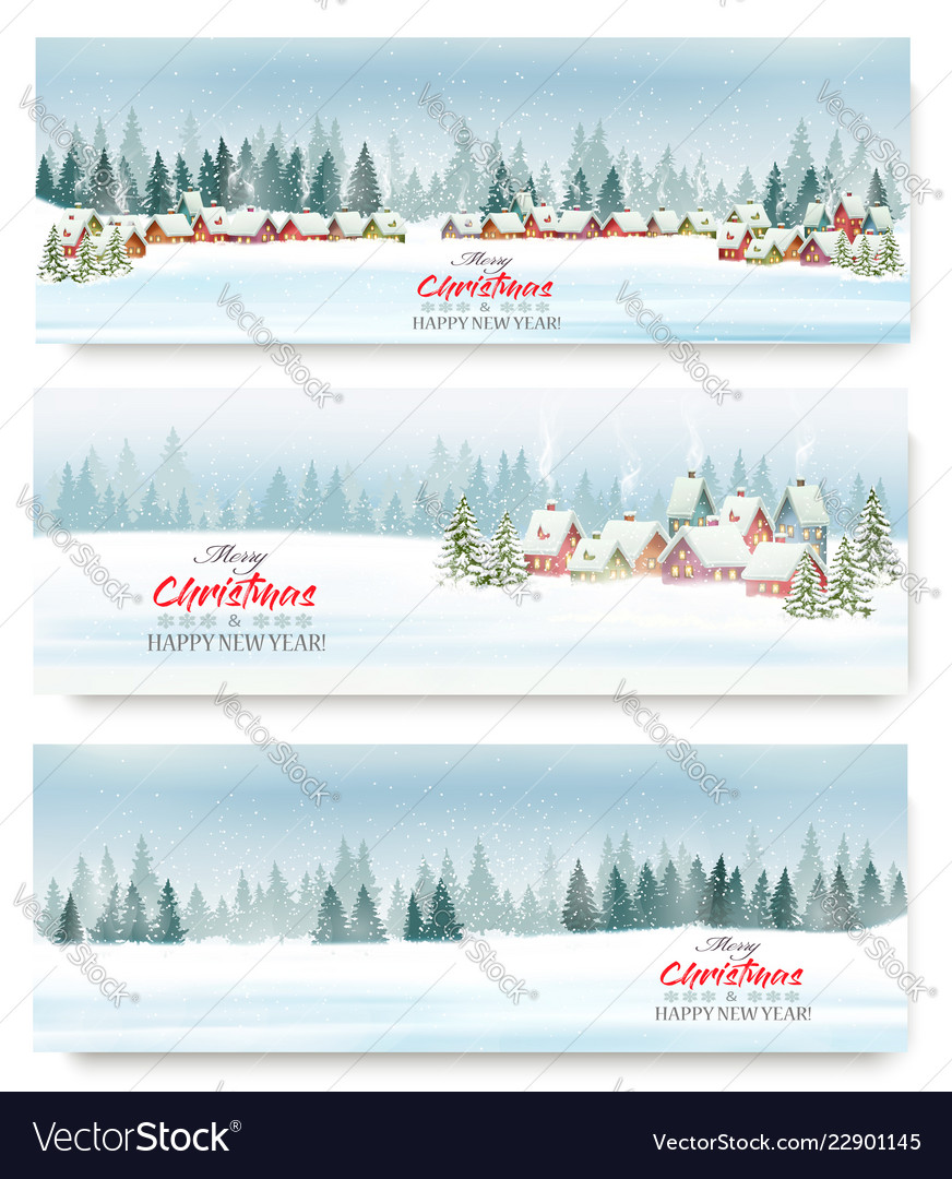 Set of holiday christmas banners with a winter