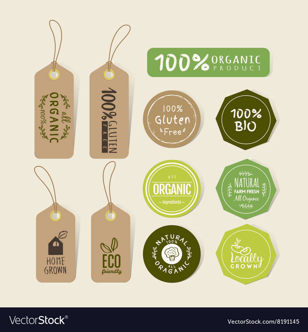 set of organic food tag and label sticker vector image vectorstock