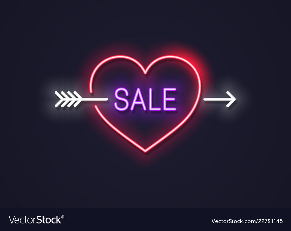 Valentines day sale neon sign heart with arrow