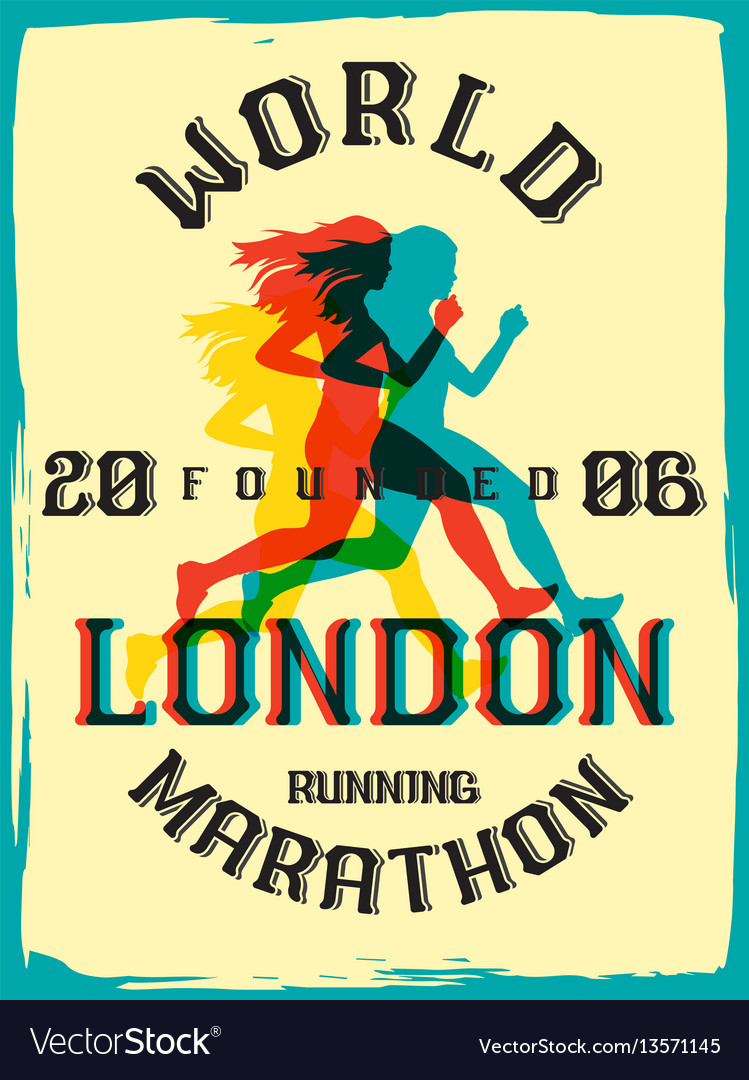 World marathon series retro poster vector image on VectorStock