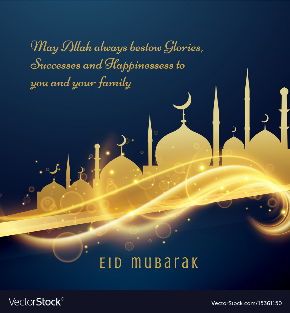 Beautiful eid festival greeting wishes with vector image