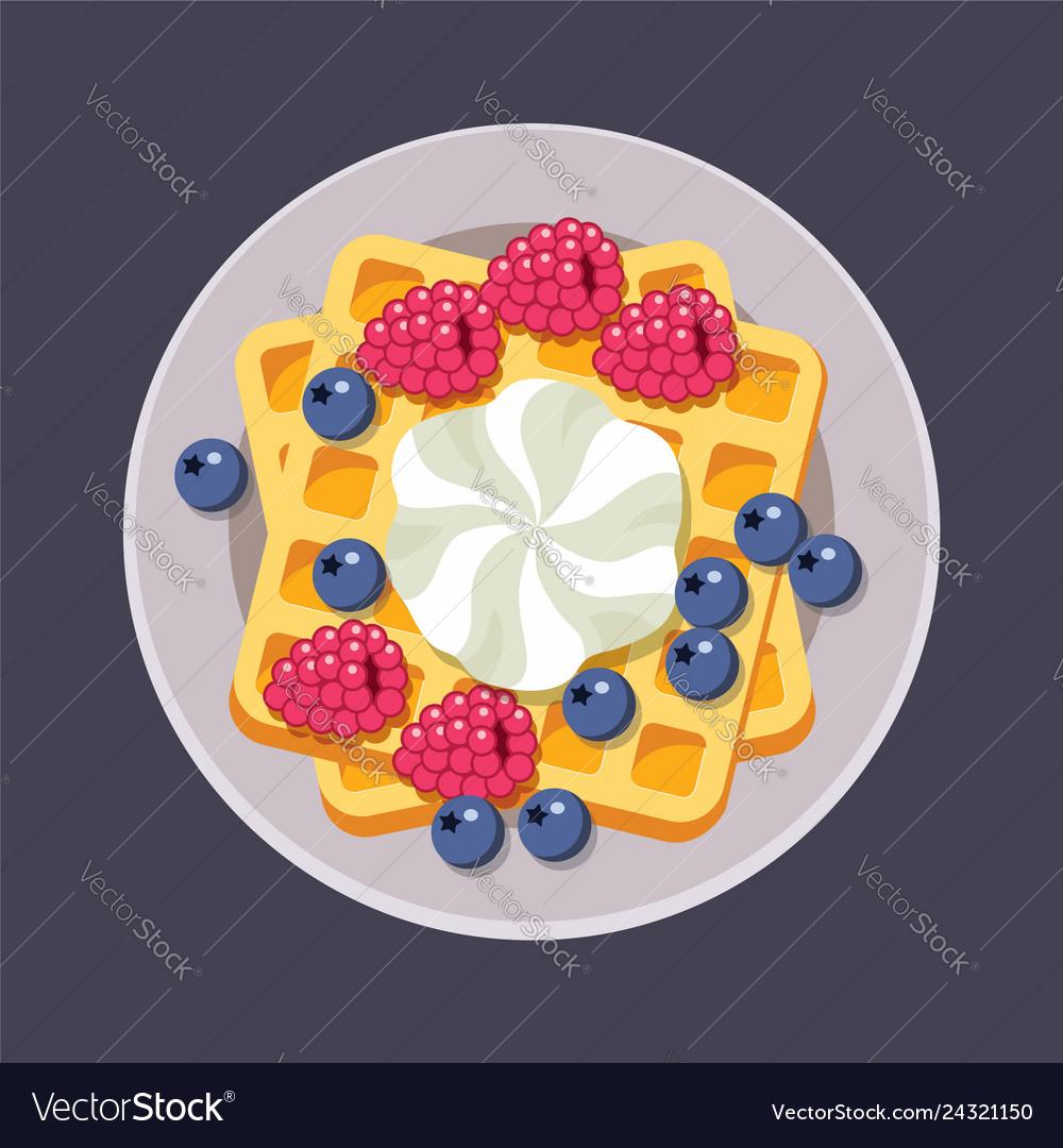 Belgian waffles on plate