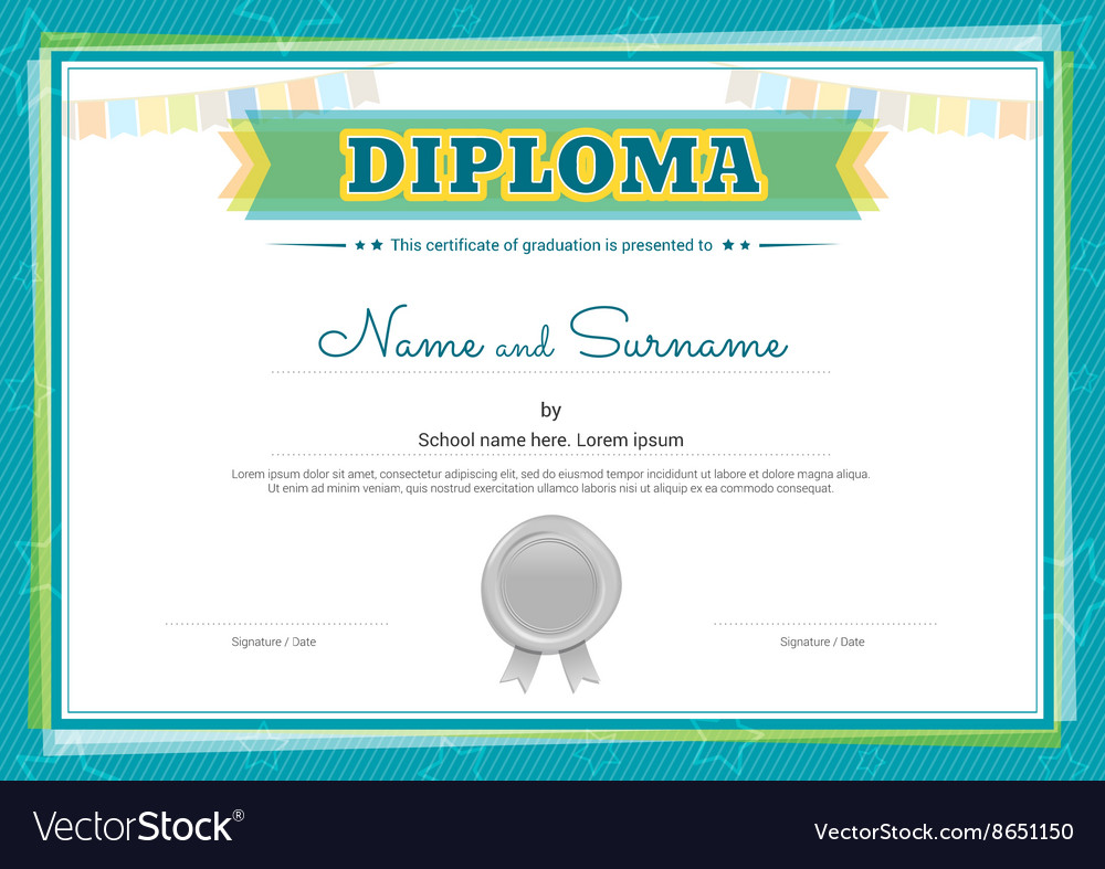 Colorful Diploma Certificate Template For Kids Vector Image