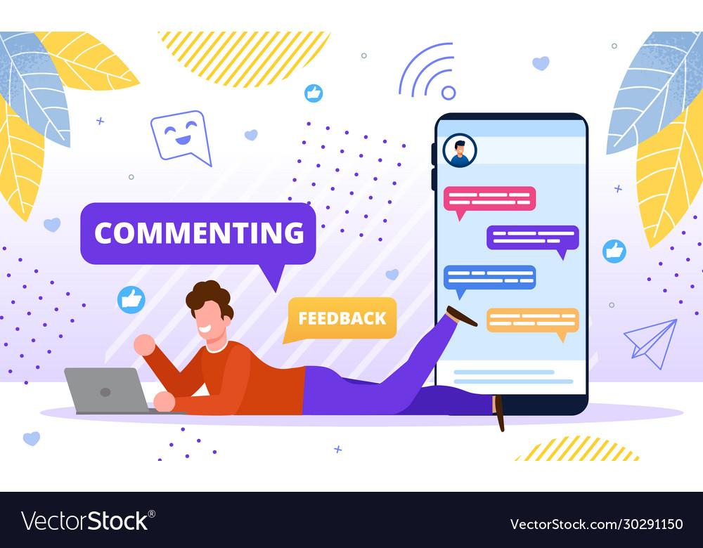 Commenting online content flat concept
