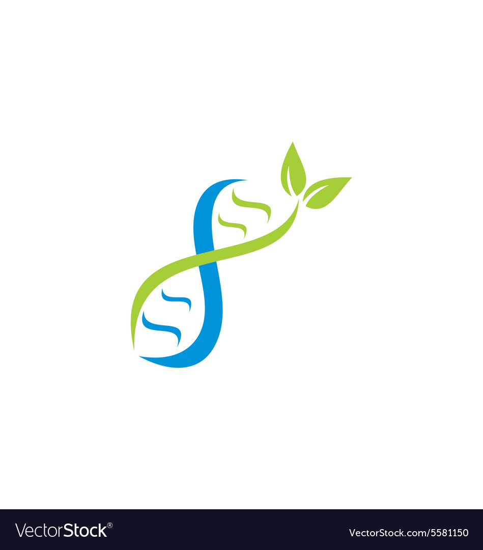DNA logo medic with leaf logo vector image