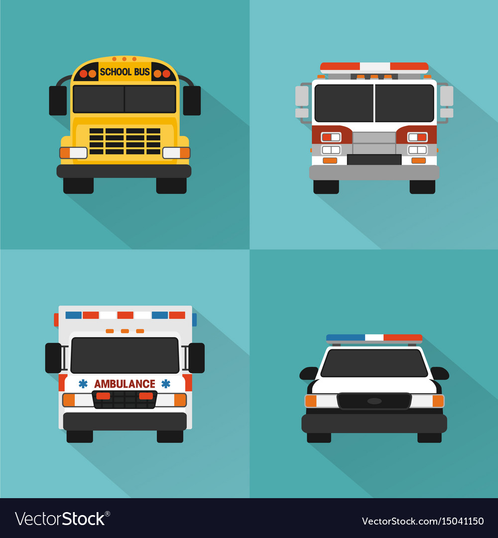 Flat concept service cars set vector image