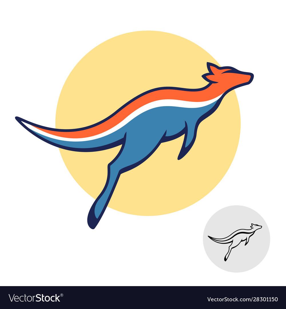 Kangaroo logo jumping australian animal dynamic