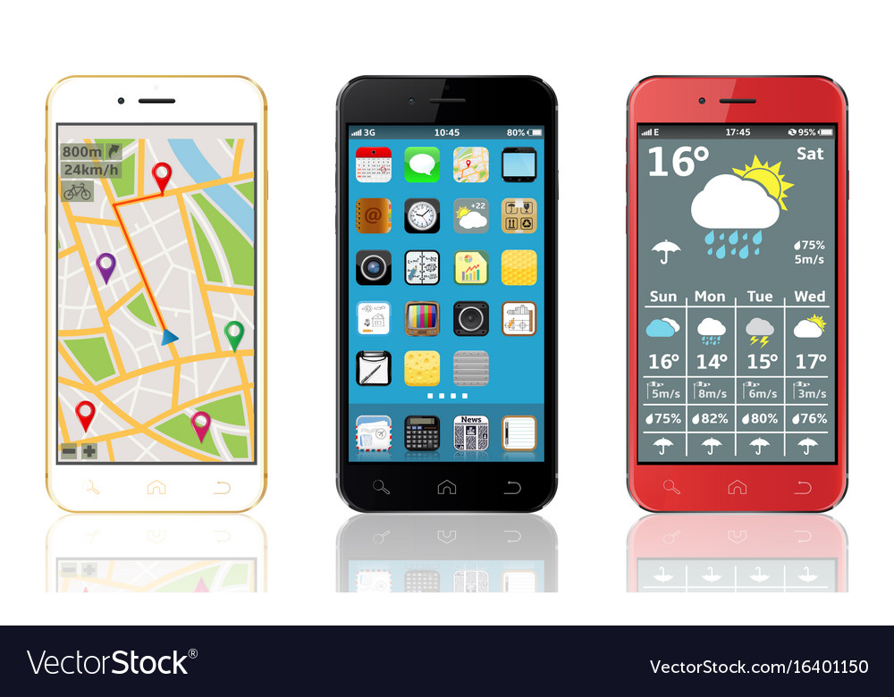 Mobile phones with widgets and icons