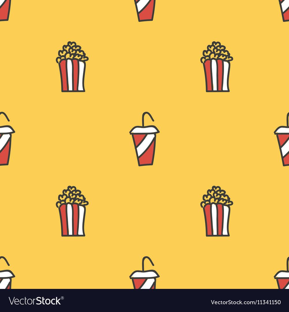 Popcorn and soda seamless pattern background