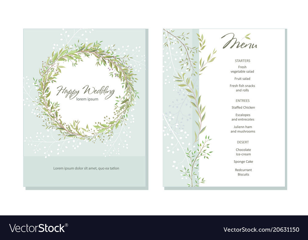 Set of card with beautiful twigs with leaves