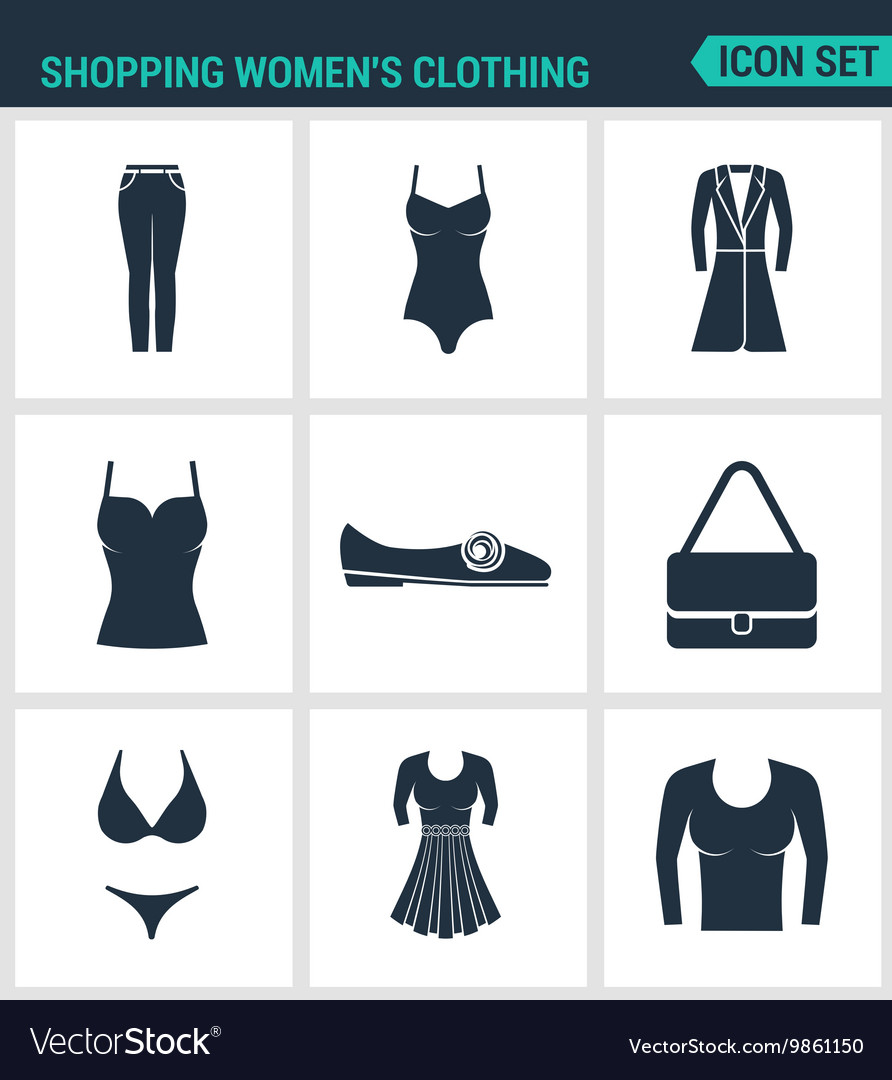 Set of modern icons Shopping women s vector image