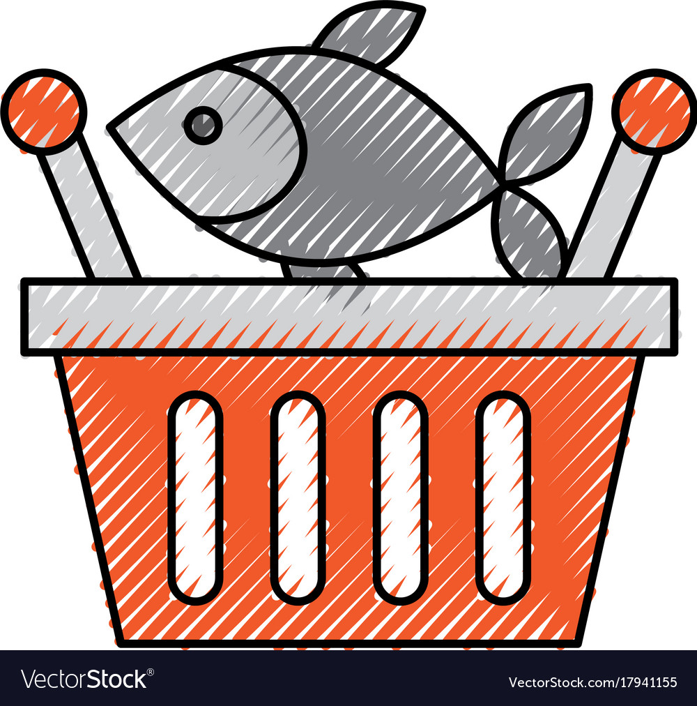 Basket shopping fresh fish market seafood Vector Image