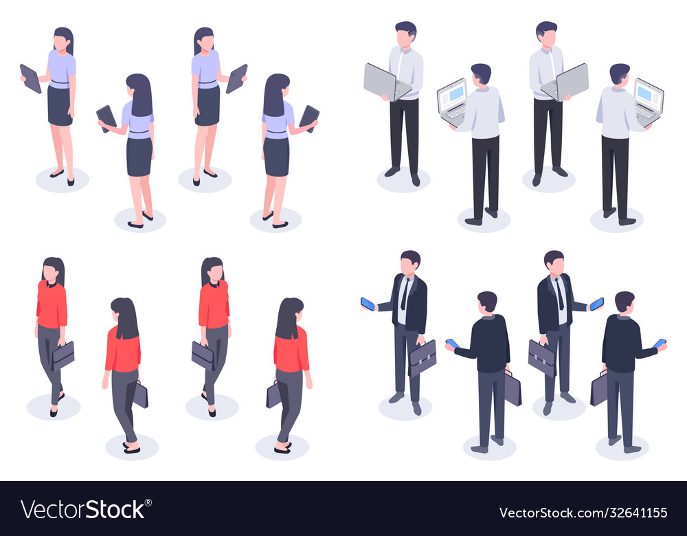 Business people isometric set man and woman