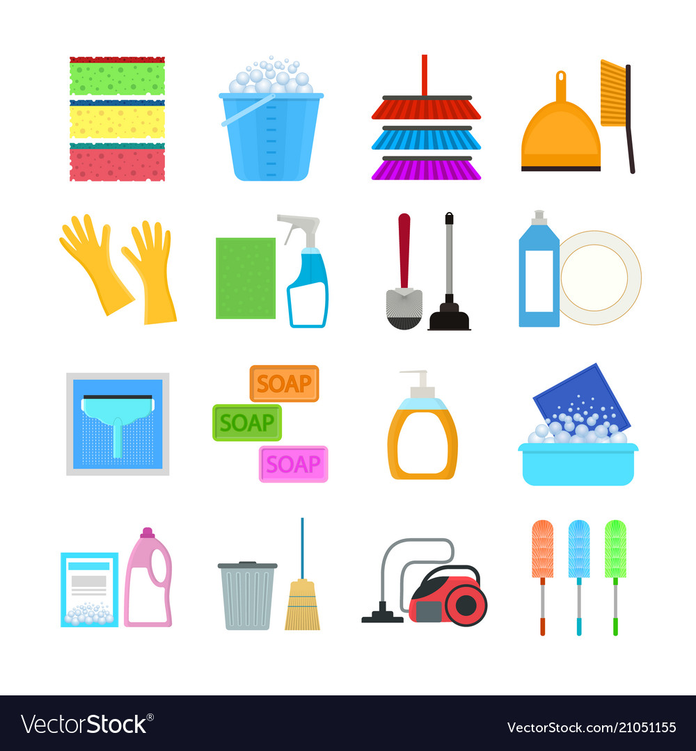 Cartoon household cleaning signs icons set