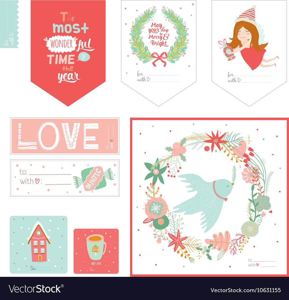 Cute Cards Notes Stickers Labels Tags