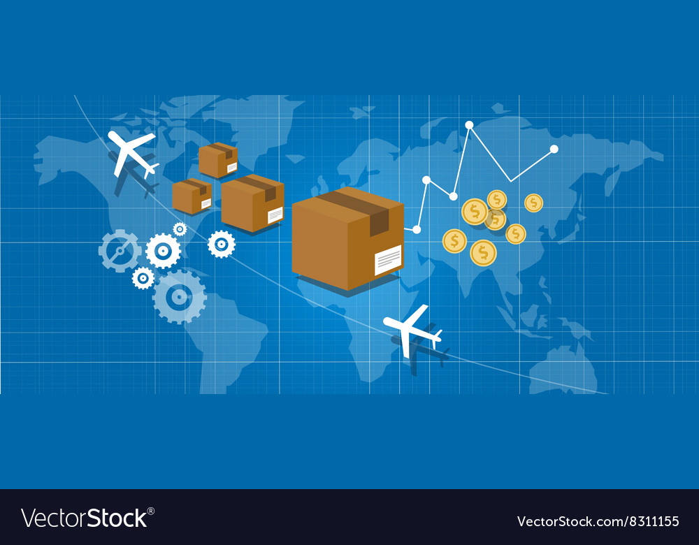 Delivery package shipping world wide map globe