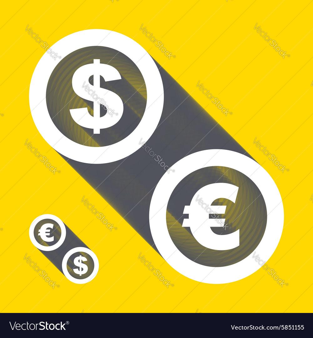 Dollar euro icons Signs set