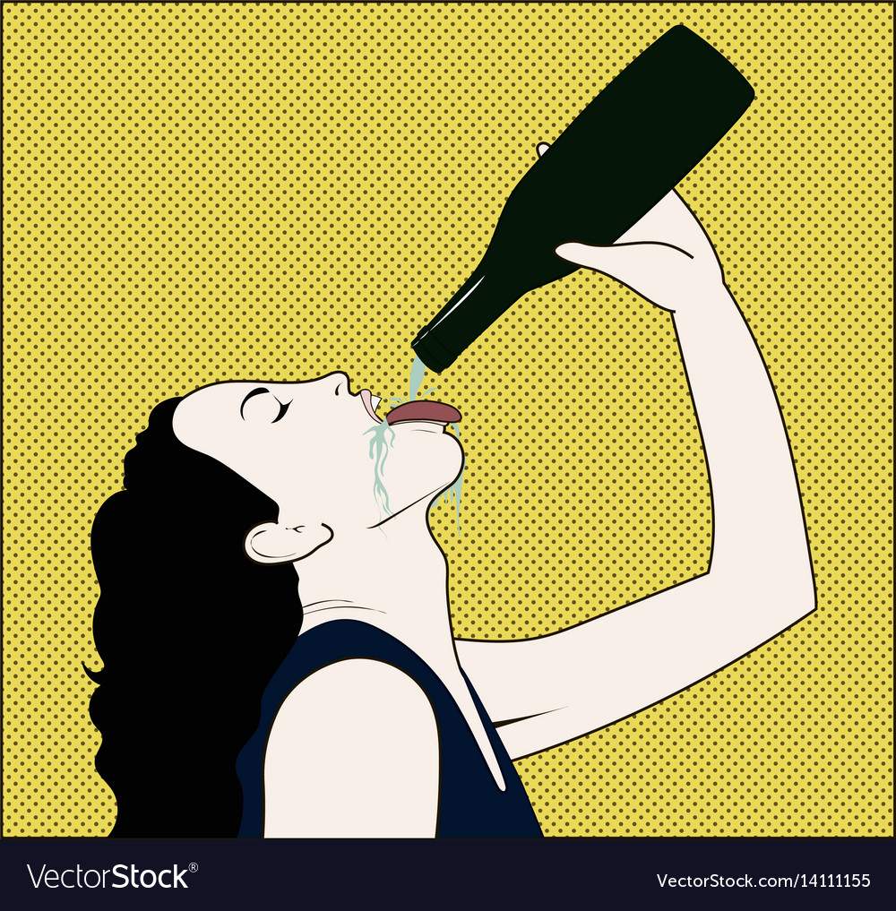 Drinking woman with opened bottle in a hand