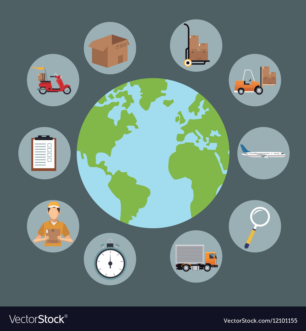 Globe delivery concept items vector image