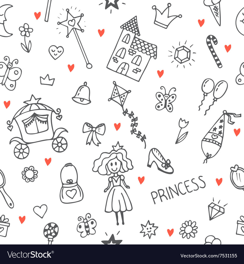Hand drawn seamless pattern with princess girl