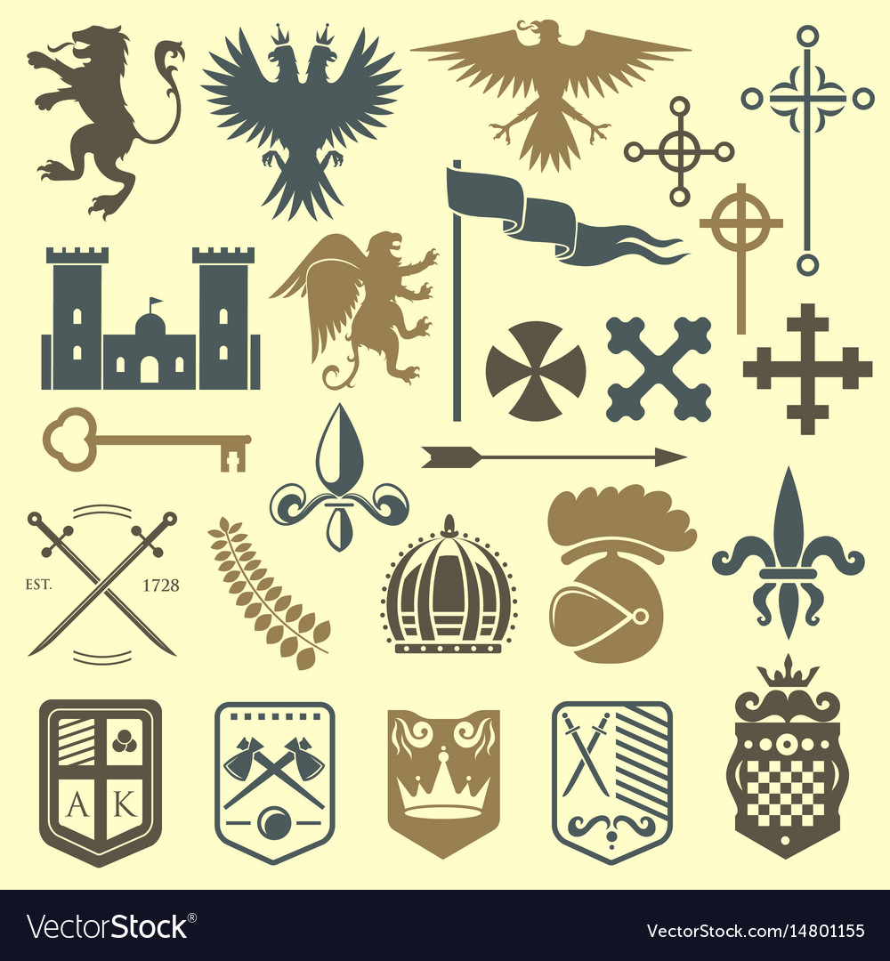 Heraldic royal crest medieval knight elements