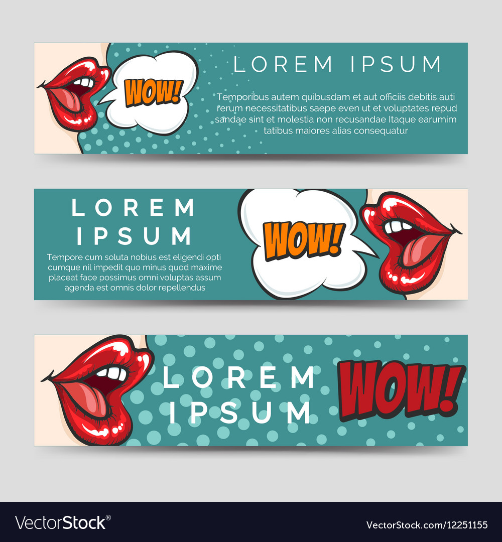 Horizontal banners in pop art style vector image
